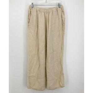 Flax Cream Linen Cropped Wide Leg Pants